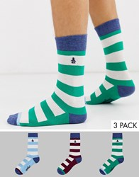 Penguin 3 Pack Socks In Rugby Stripes Multi
