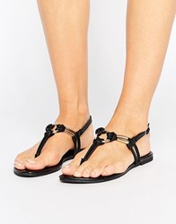 New Look Leather Knot Detail Sandal Black