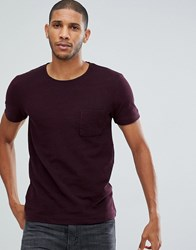 Tom Tailor T Shirt In Burgundy Pique With Pocket 5465 Red