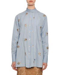 Valentino Pinstriped Sequined Button Front Blouse Blue