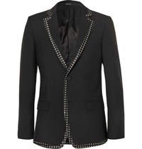 Alexander Mcqueen Print Trimmed Wool And Mohair Blend Blazer Black