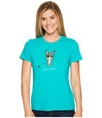 Life Is Good Cool Horse Crusher Tee Bright Teal Women's T Shirt Blue
