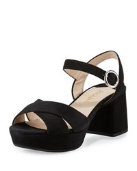 Prada Suede Crisscross Ankle Wrap 65Mm Sandal Black