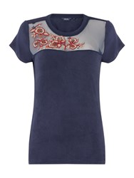 Salsa Short Sleeve Crew Neck Top With Mesh Detail Blue