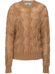 Prada Cable Knit Sweater Nude And Neutrals