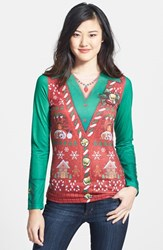 Women's Faux Real 'Ugly Christmas Vest' Long Sleeve T Shirt
