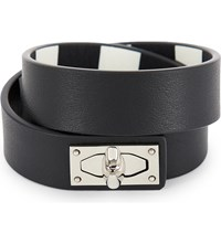 Givenchy Double Wrap Shark Tooth Leather Bracelet Black