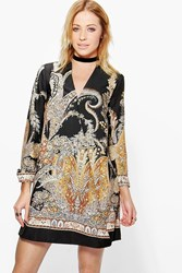 Boohoo Border Paisley Wrap Shirt Dress Black