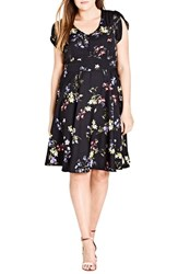 City Chic Plus Size Women's Free Love Floral Fit And Flare Dress