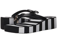 Kate Spade Rhett Black Rubber Black White Stripe Print