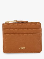 Jaeger Leather Zip Top Card Holder Tan