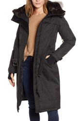 Nobis She Ra Genuine Coyote And Rabbit Fur Trim Down Parka Heather Black