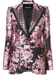 Dolce And Gabbana Floral Lurex Jacquard Jacket Pink And Purple