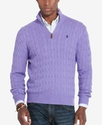 Polo Ralph Lauren Men's Cable Knit Mock Neck Sweater Purple