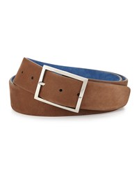 Simonnot Godard Reversible Suede Belt Light Brown Royal Blue