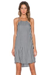 1. State Gingham Cut Out Slip Dress Black And White