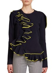 Cedric Charlier Ruffle Knit Sweater Navy Yellow