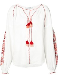 March 11 Embroidered Blouse Women Linen Flax L White