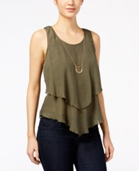 Amy Byer Bcx Juniors' Sleeveless Layered Necklace Top Olive
