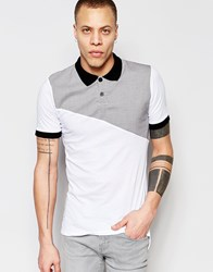 Religion Polo Shirt With Check Panel White