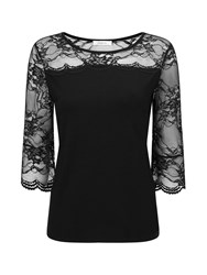 Precis Petite Lace Flute Sleeve Top Black