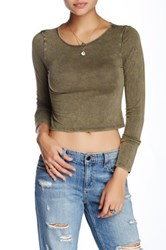 Vintage Havana Long Sleeve Crop Tee Green