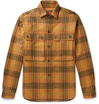 The Workers Club Checked Wool Overshirt Orange