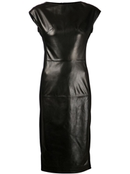 Tomas Maier Fitted Leather Dress Black