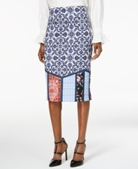 Eci Mixed Print Midi Pencil Skirt Navy