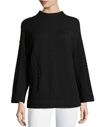 Paperwhite Mock Neck Jacquard Long Sleeve Blouse Black