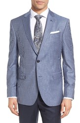 Ted Baker Men's London Trim Fit Check Wool Sport Coat Blue