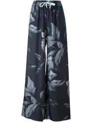 For Restless Sleepers Floral Print Palazzo Pants Black