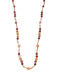 Chan Luu Red Zebra Jasper Carnelian Red Aventurine And 18K Yellow Gold Vermeil Beaded Necklace