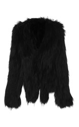 Anna Sui Knitted Fox Jacket Black