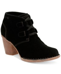 Clarks Women's Carleta Lyon Lace Up Booties Women's Shoes Black Suede