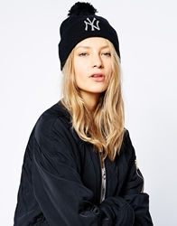 New Era Ny Bobble Beanie Hat Blackandsilver
