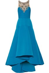 Marchesa Notte Pleated Embellished Tulle And Faille Gown Blue