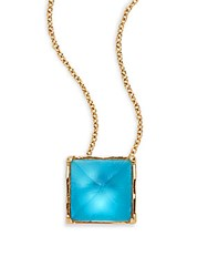 Alexis Bittar Lucite Pyramid Pendant Necklace Turquoise