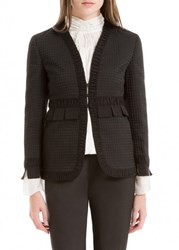 Leon Max Houndstooth Cloque Shirred Jacket