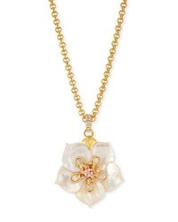 Jose And Maria Barrera White Crystal Flower Pendant Necklace Pink