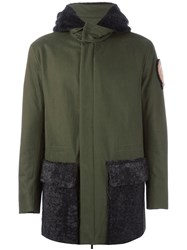 Fendi Fur Pocket And Hood Parka Green