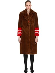 Ermanno Scervino Faux Fur Long Coat W Striped Details Brown Red