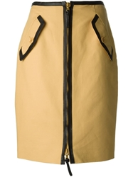 Moschino Zip Front Pencil Skirt Nude And Neutrals