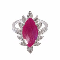 Meghna Jewels Claw Marquise Ring Ruby And Diamonds Pink Purple