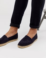 Selected Homme Suede Spanish Espadrilles In Navy