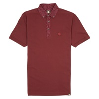 Pretty Green Paisley Collar Polo Top Dark Red