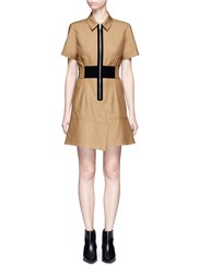 Alexander Wang Laced Belt Twill Safari Dress Brown