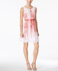 Connected Petite Belted Floral Print A Line Dress Coral Pink Multi