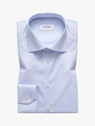 Eton Natural Stretch Twill Pencil Stripe Slim Fit Shirt Blue White