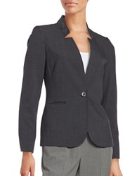 Karl Lagerfeld Faux Suede Trimmed One Button Blazer Charbon